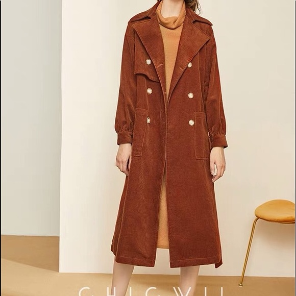 new style & luxury cheapest sale picked up New Corduroy trench coat size L